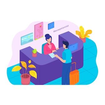 Cliente en recepción. servicio de recepción concepto de oficina de negocios de escritorio de hotel en estilo plano.