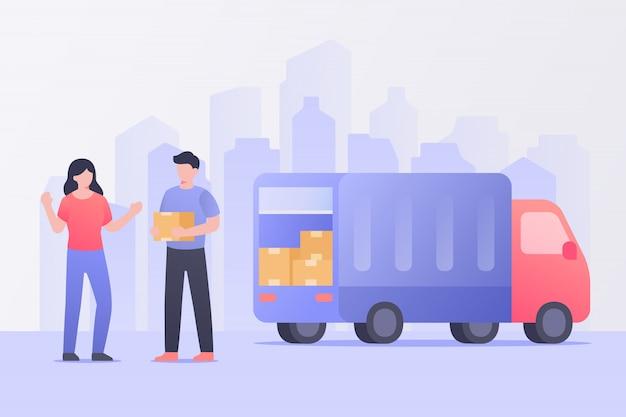 El cliente recibe la entrega del paquete de mensajería en camión.