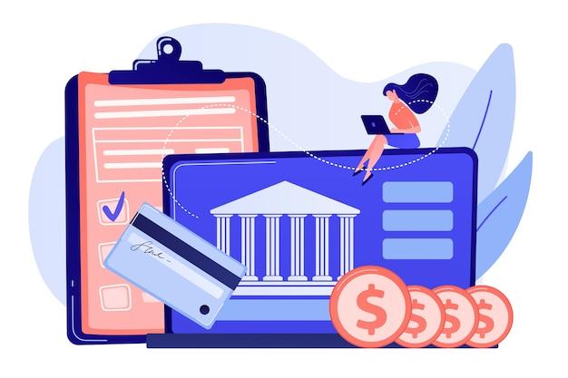 Cliente sentado con computadora portátil y banco con tarjeta de crédito y ahorros financieros. cuenta bancaria personal, depósito de caja de ahorros, ilustración de concepto de préstamo de tasa fija