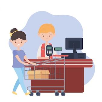 Cliente triste con carrito de compras y caja vacía, vendedor hombre caja registradora, exceso de compra
