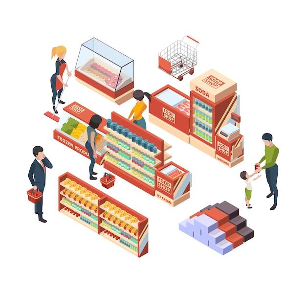 Clientes de abarrotes. personas isométricas con carritos de compras en el mercado minorista comprando artículos del mercado de alimentos colección de vectores