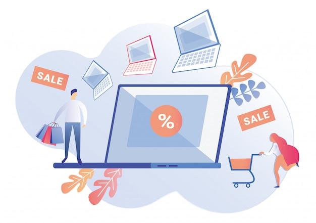 Clientes, apresurándose a la tienda de computadoras para la venta