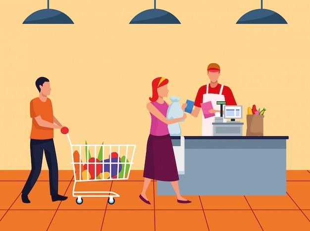 Clientes avatar en la caja registradora del supermercado, diseño colorido