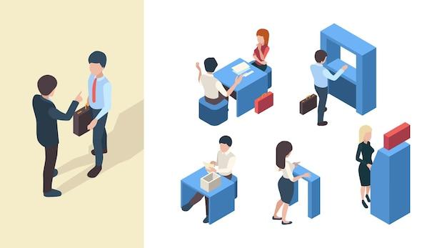 Clientes bancarios. gerentes de servicios comerciales recepción banca clientes oficina espacios abiertos vector personas isométricas