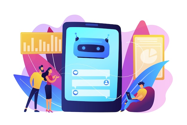 Los clientes chatean con chatbot en la pantalla del teléfono inteligente con bocadillos. chatbot de servicio al cliente, chatbot de comercio electrónico, concepto de experiencia de autoservicio. ilustración aislada violeta vibrante brillante