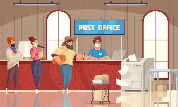 Los clientes de la composición de dibujos animados del interior de la oficina de correos hacen cola esperando al empleado del mostrador
