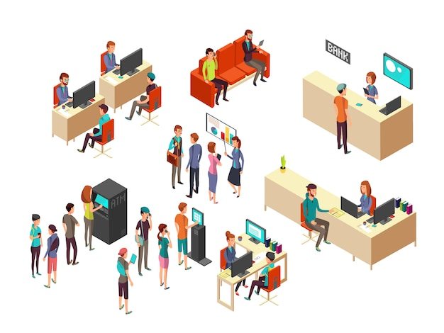 Los clientes y los empleados isométricos del banco para los servicios bancarios 3d vector concepto