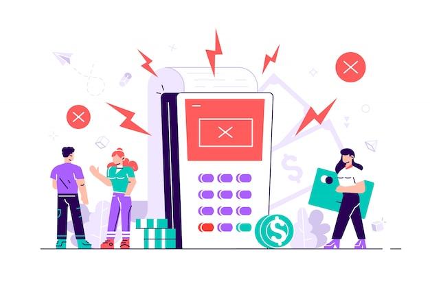 Clientes enojados. terminales de pago con marcas de verificación cruzadas en la pantalla