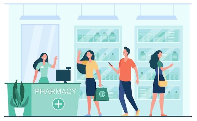 Clientes y farmacéutico en farmacia. personas que compran medicamentos en la farmacia. ilustración de vector plano para servicio, tratamiento, concepto de farmacia