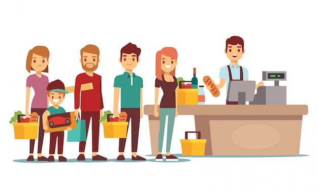 Los clientes hacen cola en el mostrador de caja con cajero en el supermercado. concepto de vector de compras