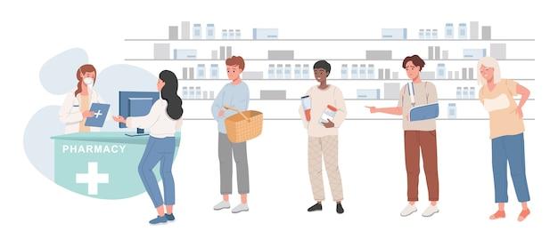 Clientes haciendo cola en farmacia y comprando medicamentos ilustración plana.