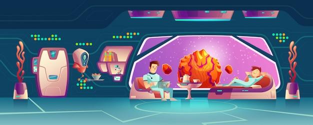 Clientes del hotel espacial descansando en vector de dibujos animados habitación