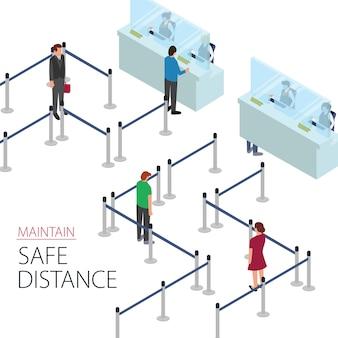 Los clientes mantienen su distancia mientras se alinean en la línea de cola del cajero del banco