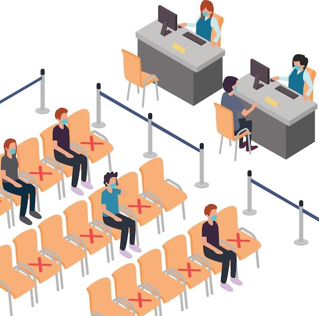 Los clientes mantienen su distancia mientras esperan en la silla de espera del banco