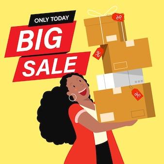 Clientes de personajes planos de dibujos animados en grandes ventas, concepto de compras.