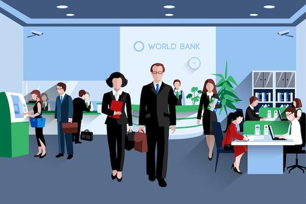Los clientes y el personal en el plano interior del banco