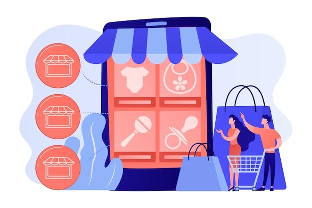 Los clientes de personas diminutas compran productos para bebés en línea desde un teléfono inteligente. mercado de servicios de nicho, comercio minorista en línea innovador, ilustración del concepto de comercio electrónico de bienes particulares
