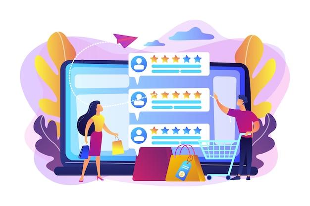 Clientes de personas diminutas que califican en línea con un programa de sistema de reputación. sistema de reputación del vendedor, producto mejor calificado, concepto de tasa de comentarios de los clientes.