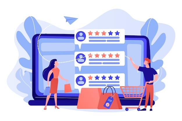 Clientes de personas diminutas que califican en línea con un programa de sistema de reputación. sistema de reputación del vendedor, producto mejor calificado, ilustración del concepto de tasa de comentarios de los clientes