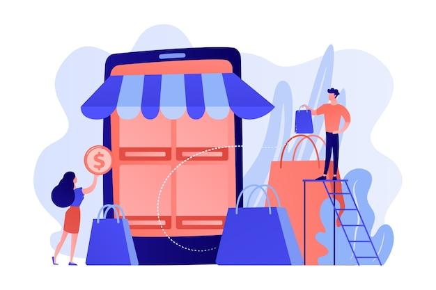 Clientes de personas pequeñas con bolsas de compras en línea con teléfonos inteligentes. mercado basado en dispositivos móviles, aplicación de tienda electrónica móvil, ilustración del concepto de mercado de comercio electrónico en línea