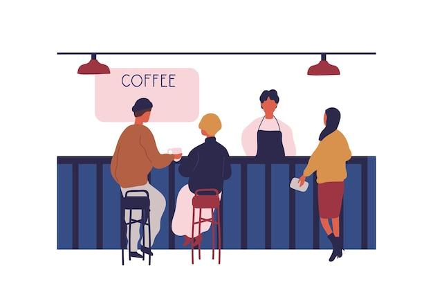 Clientes de personas sentados en la barra de bar en la cafetería aislado sobre fondo blanco. mujer comprando bebida caliente en la ilustración gráfica de vector de cafetería. barista trabajando en café moderno.