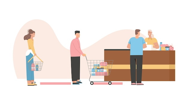 Los clientes que hacen fila mantienen la distancia social en el mostrador de caja y pagan las compras de alimentos.
