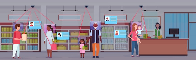 Clientes de raza mixta haciendo compras identificación de clientes reconocimiento facial concepto cámara de seguridad sistema de vigilancia de circuito cerrado de comestibles mercado interior plano horizontal