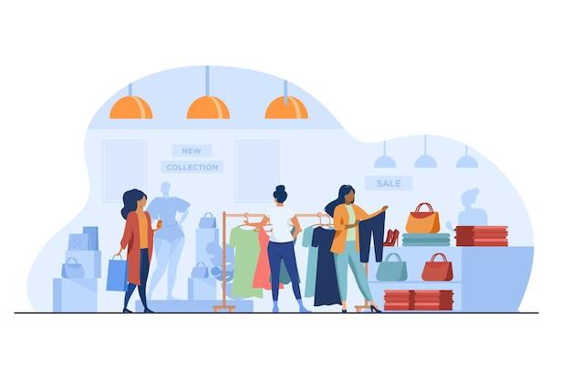 Clientes en tienda de moda. mujeres eligiendo ropa en la ilustración de vector plano de tienda. compras, venta, concepto minorista