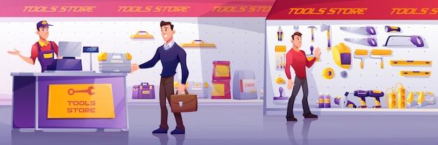 Clientes y vendedor en tienda de herramientas de construcción.