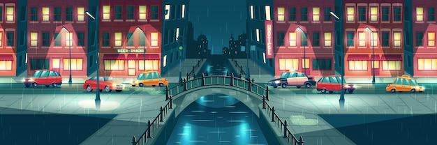 Clima lluvioso y húmedo en dibujos animados de la ciudad de noche