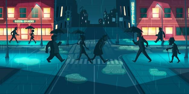 Clima lluvioso en vector de calles de la ciudad de noche