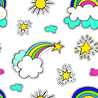Clima soleado y nublado, arco iris y estrella fugaz con nubes. entorno de cuento de hadas con vitalidad. milagros y pasión por los viajes de patrones sin fisuras. pegatinas o parches, vector de impresión brillante en estilo plano
