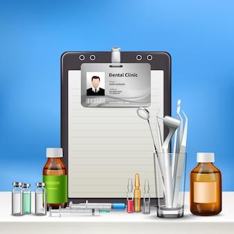 Clínica de atención dental accesorios de consultorio médico con tarjeta de identificación taladro espejo medicina de higiene oral realista