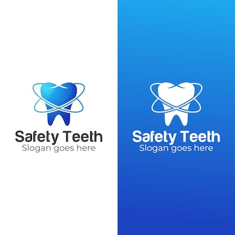 Clínica dental degradada y logotipo de dientes de seguridad.