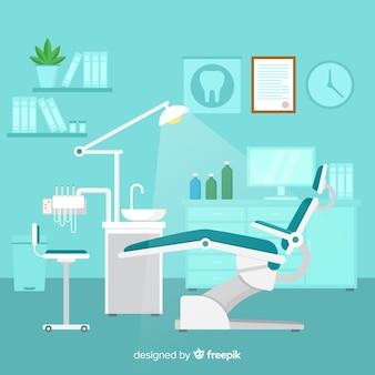 Clínica dental en diseño plano