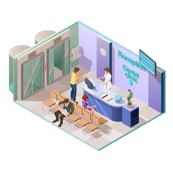 Clínica dental médica en estilo isométrico.