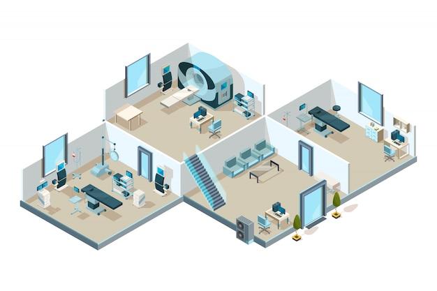 Clínica interior. pacientes hospitalarios salas médicas con equipo de laboratorio creativo baja imagen isométrica poli