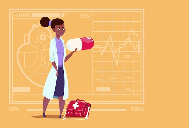 Clínica médica para mujeres afroamericanas doctor holding pill hospital de trabajadores
