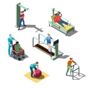 Clínica médica de rehabilitación isométrica con personajes humanos. las personas con problemas del sistema musculoesquelético realizan ejercicios de fisioterapia. pacientes en programa de recuperación y tratamiento.