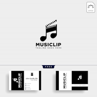 Clip de música cine entretenimiento multimedia logotipo simple