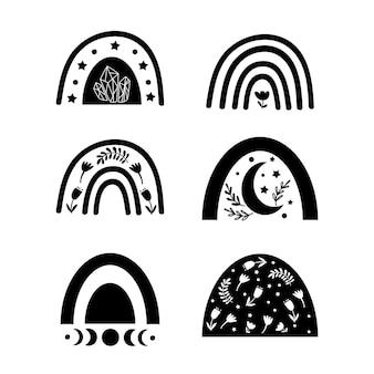 Clipart de arco iris de boho. ilustración vectorial.