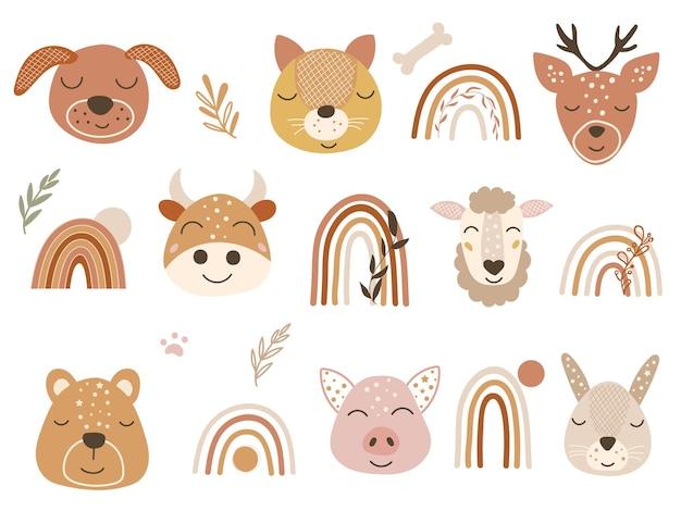 Clipart de bosque con caras de animales bebé y arco iris. ilustración vectorial.