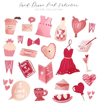 Clipart de colección de vectores de san valentín rosa dibujado a mano