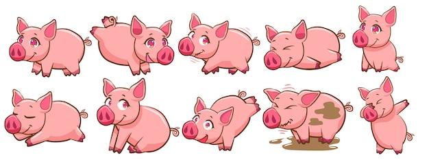 Clipart de conjunto de vectores de cerdo
