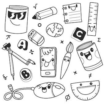 Clipart de la escuela doodle iconos y símbolos de la escuela. dibujado a mano objetos de educación stadying