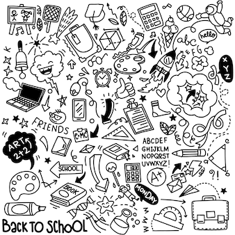 Clipart de la escuela. elementos y útiles escolares del doodle del vector. dibujado a mano estudiando objetos educativos.