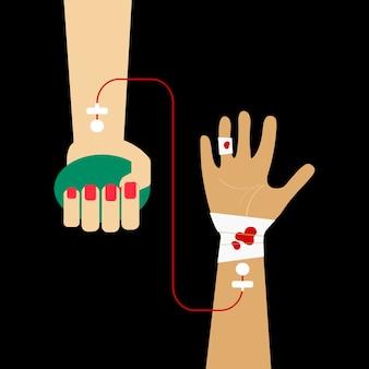 Clipart de la ilustración de vector de transfusión de sangre