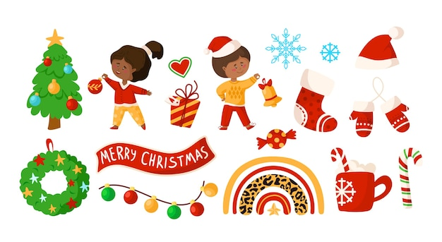 Clipart de niños de navidad o año nuevo