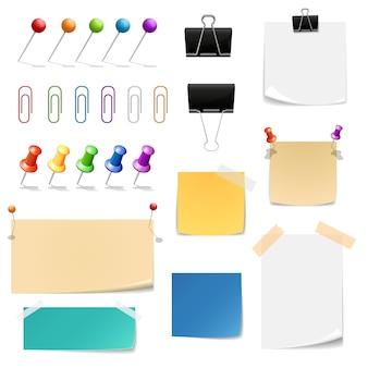 Clips de papel, carpetas, papeles para notas. oficina de recordatorio y suministros, adjuntar y sujetar