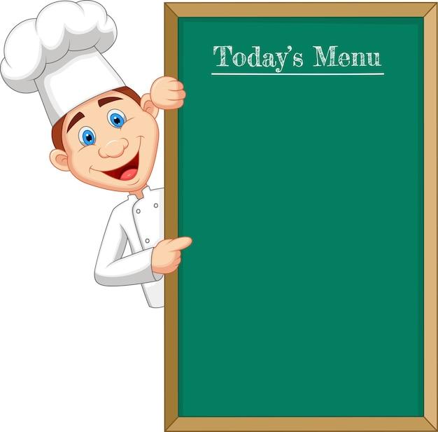 Cloche de chef de dibujos animados apuntando a un banner o menú